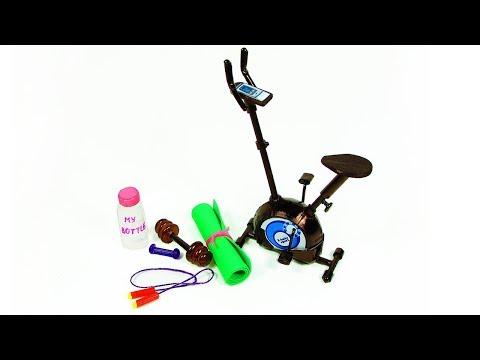DIY Miniature Doll Sports Kit - Exercise Bike, My Bottle, Jump Rope, Dumbbells, Mat