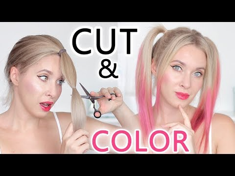 CUT & COLOR test ✂ How to get layers in your hair / ombre like Harley Quinn