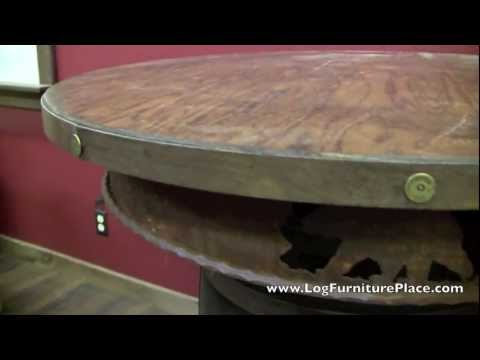 Rustic Whiskey Barrel Pub Table from LogFurniturePlace.com
