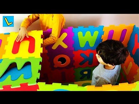Make BIG HOUSE ABC squishy foam PUZZLE mat. Let's Play Kids.