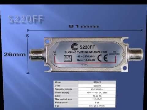 In-Line satellite amplifier S220FF with installation instructions
