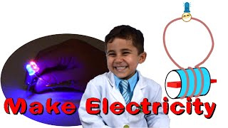 Kid Science Experiment - make electricity by shaking your hands | Electromagnetic Induction