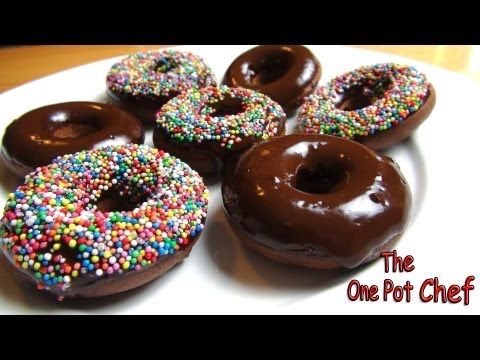 Oven Baked Chocolate Donuts | One Pot Chef
