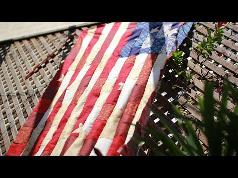 Watch Her Make a Patriotic Patchwork Quilt Flag in Less Than 2 Minutes