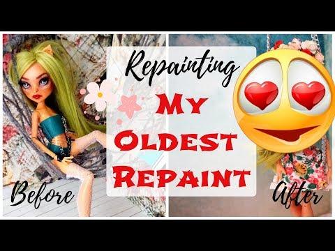 Repainting MY OLDEST MONSTER HIGH DOLL REPAINT / How To Repaint OOAK Barbie Dolls Speedpaint Drawing