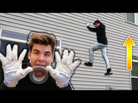 WALL CLIMBING WITH DUCT TAPE HANDS!!   David Vlas