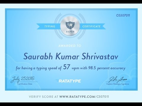 How can you get a free certificate of typing tutor online free by Saurabh Kumar Shrivastav
