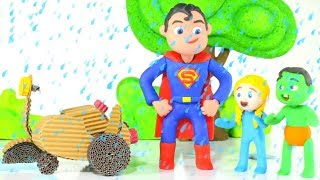 SUPERMAN HELPED THE KIDS ❤ PLAY DOH CARTOONS FOR KIDS