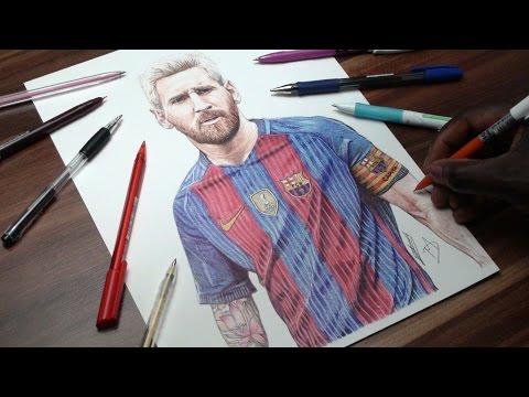 Messi Pen Drawing - FC Barca - DeMoose Art