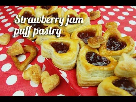 Strawberry jam puff pastry
