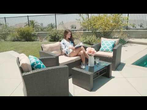 Belleze 4pc Wicker Outdoor Patio Set