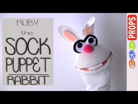 DIY SOCK PUPPET RABBIT - How to make no-sew puppets from socks (Ep.02: Ruby the Rabbit) | Edu Props