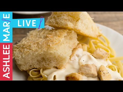 LIVE - Homemade Alfredo recipe and 60 min Breadsticks