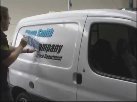 Applying vinyl graphics to commercial vehicles