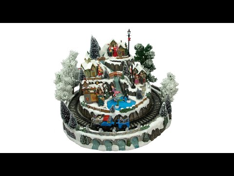 Illuminated Villages - Town Scene With Train - 45cm  - The Christmas Warehouse