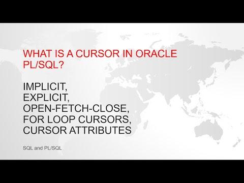 Oracle Pl/sql Cursors (Implicit, Explicit, Open-Fetch-Close, FOR LOOP cursors, Cursor Attributes)