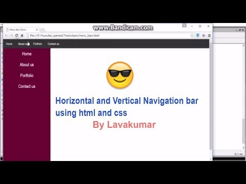 How to design horizontal and vertical menu bars using html and css part 6