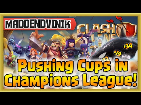 Clash of Clans - Pushing Cups in Champions League with 4 Golems, Wizards & Queen! (Gameplay)