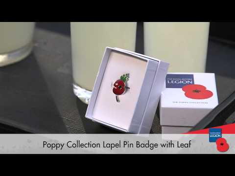 Poppy Collection Pin Badge With Leaf