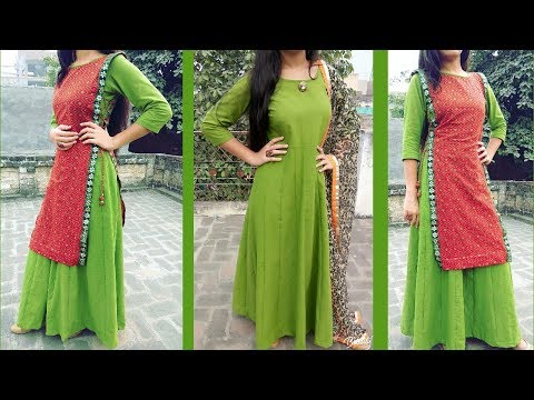 Double layer ANARKALI dress cutting and stitching