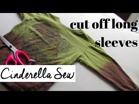 How to cut off sleeves of a shirt - Make long sleeves short - Easy DIY designs with Cinderella Sew
