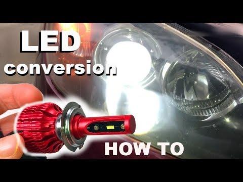 LED headlight bulb installation on a Mazda 3