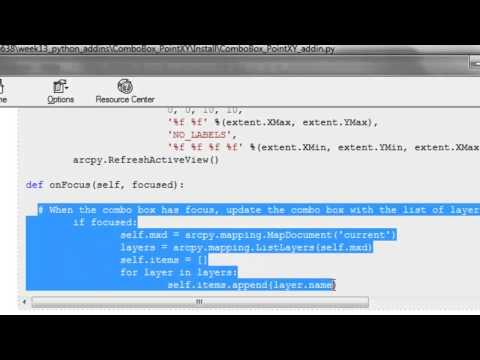 5) Python Add-In Toolbar ComboBox