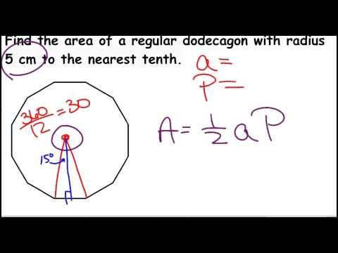 Regular Polygon Area Dodecagon, with 1-2
