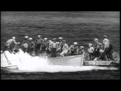 The salvage boat at work in raising the USS Squalus from the sea in Portsmouth, N...HD Stock Footage