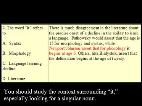 TOEFL iBT Reading:  Answering Pronoun Referent Questions