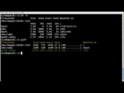 Report colourised filesystem disk space usage under Unix / Linux