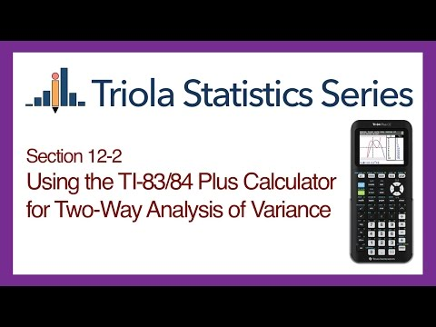 TI 83/84 Section 12-2: Using the TI-83/84 for Two-Way Analysis of Variance