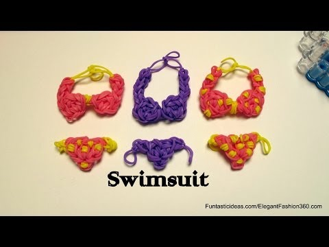 Rainbow Loom swimsuit/Bikini charm emoji/emoticon -How to -Swimming Design