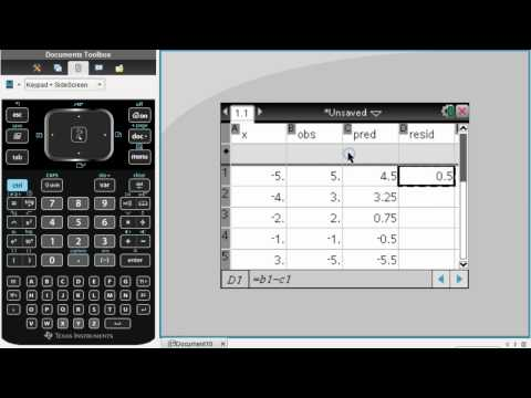Using TI-nspire to find sum of squared residuals