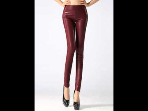 Plus wool thick slim leather pants with bound feet stretch skinny jeans.avi