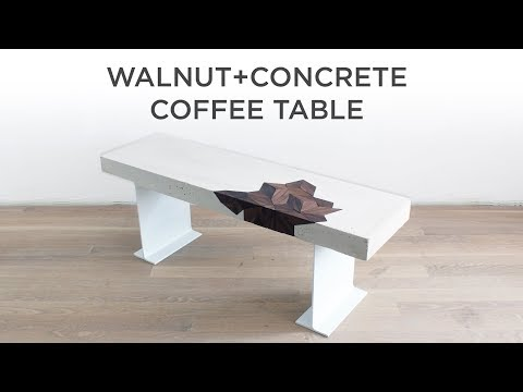 Concrete Coffee Table with a Walnut Inlay