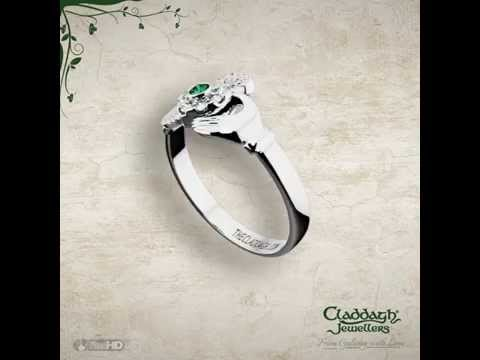 White Gold Diamond & Emerald Claddagh Ring