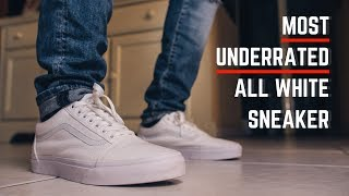 4b48ddfa40976d All White Vans! Vans Old Skool Low True White On Feet and Review