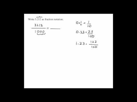 Converting Decimals into Fraction Notation