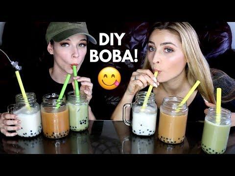 Make Your Own BUBBLE TEA!!! boba milk tea recipe & mukbang
