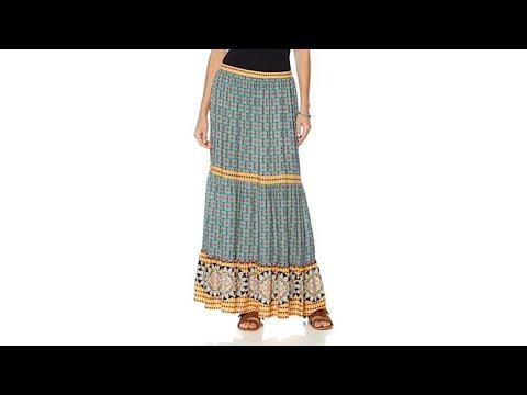 Curations Caravan Printed Tiered Maxi Skirt
