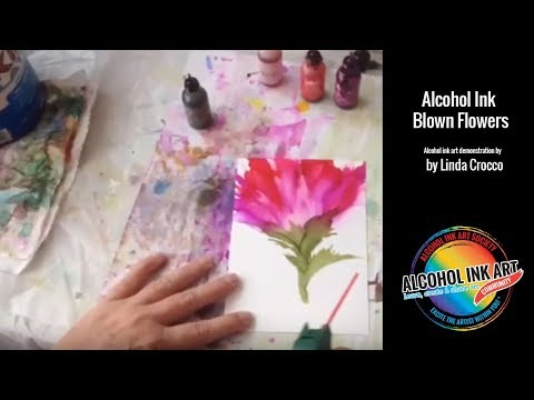 How to Paint with Alcohol Ink - Blowing Flowers Demo