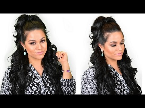 Khloe Kardashian Half-Up High Ponytail hairstyle using clip-in hair extensions - Luxury For Princess