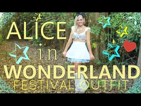 ALICE IN WONDERLAND - DIY RAVE/FESTIVAL COSTUME - RAVE BRA & FUR BOOTS TOO! - MISSY CHRISSY