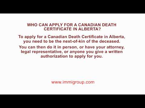 Who can apply for a Canadian Death Certificate in Alberta?