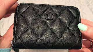 7bec933acc36 CHANEL SO BLACK RECTANGULAR MINI AND ZIPPY COIN PURSE ONE YEAR WEAR AND TEAR  REVIEW