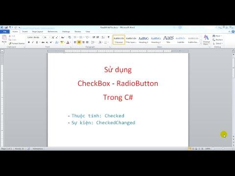 Sử dụng CheckBox và RadioButton trong C#