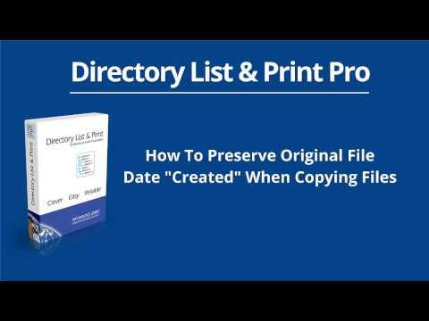 How To Preserve Original File Date