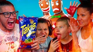 1 KILL = EXTREME FLAMING HOT TAKIS FOR 1 FAMILY MEMBER WITH NO WATER CHALLENGE! FT. JAYDEN! FORTNITE