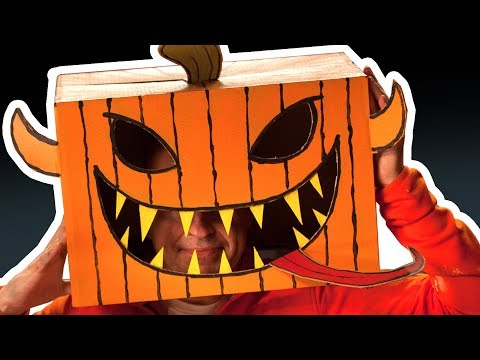 Cardboard Pumpkin Head - Halloween Costumes & Crafts Ideas with Boxes | DIY on Box Yourself